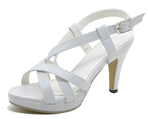 Mine Tom Mujer Chicas Verano Sandalias De Tacón Alto Sandalias De Gladiador Correas Cruzadas Peep Toe Zapatos Blanco 38