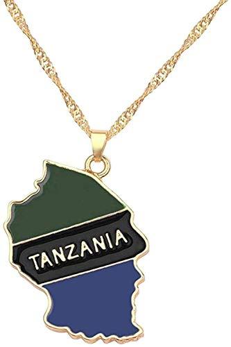 huangxuanchen co.,ltd Collar Collar con Colgante De Bandera Nacional De Mapa del País De Tanzania, Collar De Esmalte Dorado para Hombres Y Mujeres, Cadena De Abalorios De Moda, Regalo De Joyería