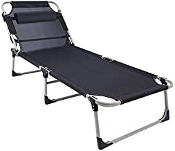 REDCAMP Tanning Lounge Chair for Outside, Reclining Foldable Outdoor Sun Lounger Cot Bed with Pillow for Adults Beach Sunbathing, Black