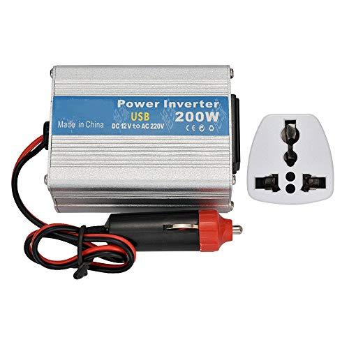TERMALY 200 W inverter autoomvormer, 12 V of 24 V naar 110 V of 220 V, met sigarettenaanstekerstekker/stopcontact/USB-interface, geschikt voor auto's, caravans, boten, kamperen, reizen 12 V to110 V / 200 W