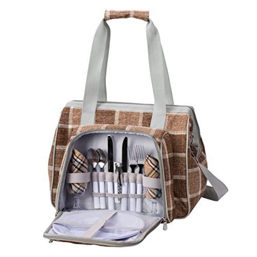 ショルダータイプAllinOneピクニッククーラーバッグLoaMythos(ロアミトス)2人用カトラリーセットアウトドアクーラーボックス保冷バッグキャンプランチボックスバスケットおしゃピク