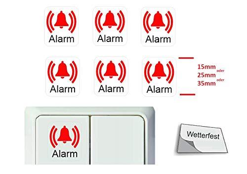 Generisch 6 Stück Schalter Aufkleber Set Glocke Klingel Symbol Schalteraufkleber Schalter Sticker (R23/13) (35 x 35 mm)