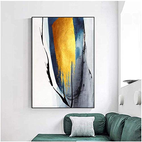 Zxwd Print Canvas Posters Painting Gift Abstract Golden Block Splendid Life Tableau Wall Art Picture for Living Room Blue Black Ink Frame