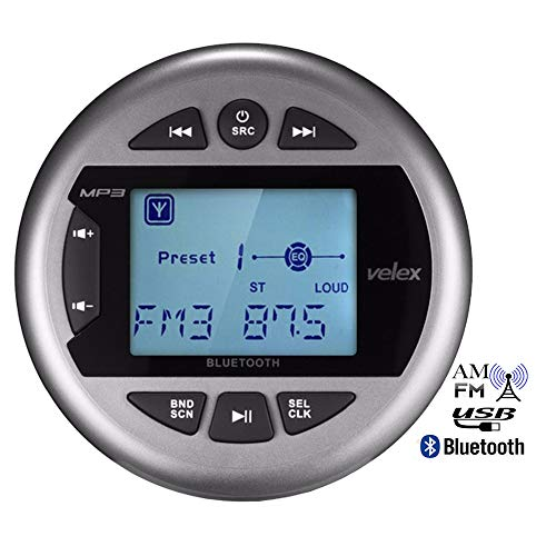 RISHENG Embarcación a Prueba de Agua Estéreo Bluetooth Radio para Barco Medios Digitales Audio para automóvil FM Reproductor de MP3 para ATV UTV SPA Yate a Motor