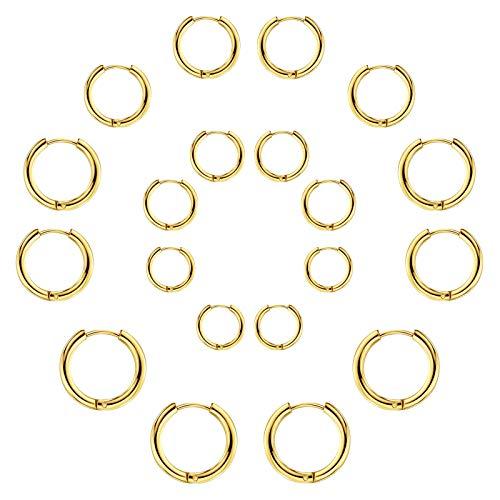 Set di 10 paia di orecchini rotondi a cerchio, per donne e uomini, ragazze, leggeri, in acciaio inox, per cartilagine, senza fine, ipoallergenici, 10-25 mm (10 paia di cerchi d'oro)