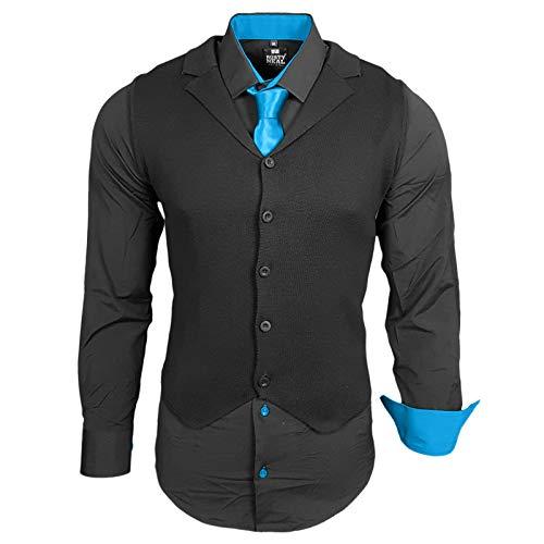Rusty Neal Herren Hemd Weste Krawatte Set Hemden Business Hochzeit Freizeit Slim Fit, Größe:L, Farbe:Schwarz/Türkis
