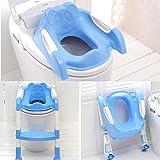 Tutoy Niños Inodoro Potty Trainer Asiento Paso Arriba Entrenamiento Taburete Silla Niño con Escalera Plegable - Azul