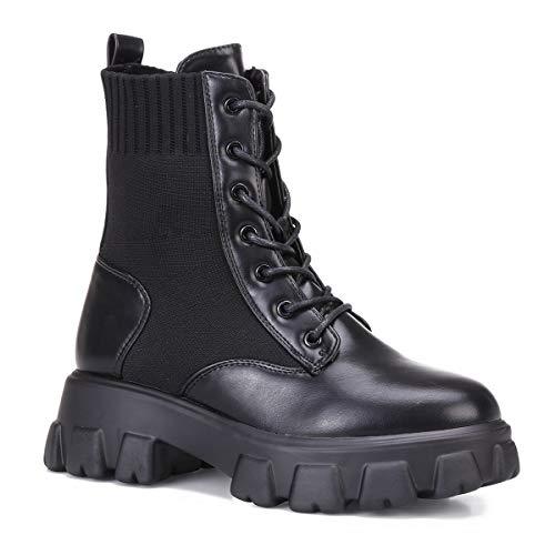 La Modeuse – Botines de piel sintética y tejido de malla acanalada efecto calcetín, Negro (Negro ), 40 EU