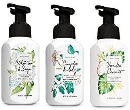 Bath and Body Works 3 Pack Gentle Foaming Hand Soap. 8.75 Oz. White Tea & Sage, Cucumber & Lily and Vanilla Coconut.