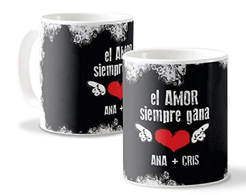 Getsingular Tazas Personalizadas con Nombres Ideales para Enamorados y San Valentín | Tazas Blancas Diseño Personalizado con Nombres El Amor Siempre GANA