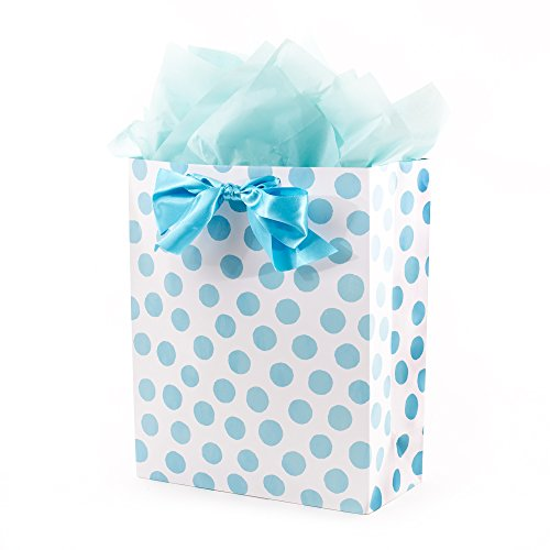 Hallmark 15 Extra Large Gift Bag with Tissue Paper - Blue Polka Dots and Bow for Baby Showers, Birthdays, Bridal Showers and More