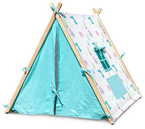 Small Foot Wooden Toys Elephant and Crocodile Play Tent Designed for Children Ages 2+ Years