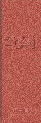 Brunnen 1078200201 Tischkalender/Vormerkbuch Modell 782, 1 Seite = 1 Woche, 10,0 x 29,7 cm, Karton-Umschlag rot, Kalendarium 2021