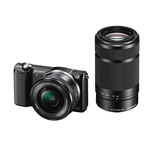 Sony Alpha 5000Y Fotocamera Digitale Compatta con Obiettivo Intercambiabile, Sensore APS-C CMOS Exmor HD da 20,1 MP, Obiettivi 16-50mm e 55-210mm inclusi, Nero
