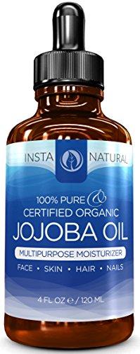 Huile de jojoba InstaNatural 100 % pure et certifiée organique – hydratant brut et pressé pour les cheveux, le visage, la peau et les ongles – 120 ml