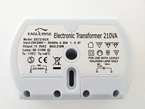 Eaglerise Transformador hal/ógeno electr/ónico de AC 230/V a AC 12/V 50/W de 160/W Transformador Transformer Transformador Conductor para NV de l/ámpara hal/ógena