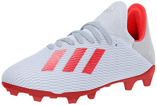 adidas Unisex-Kid's X 19.3 Firm Ground Soccer Shoe, Silver Metallic/hi-res red/White, 1 M US Little Kid
