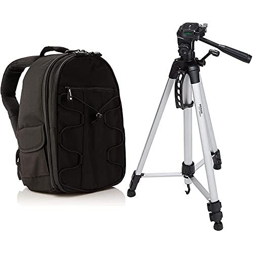 Amazon Basics - Mochila para cámara réflex y Accesorios, Color Negro + Trípode Ligero Completo (Bolsa, Cabezal panorámico de 3 Posiciones, Zapata rápida), Color Negro