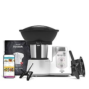 Taurus One-Robot de Cocina Inteligente Multifunción, 1600 W, 2 litros,App mycook con Miles de Recetas, 10 Velocidades, vaporera, recetario, Embellecedor Gris, Plástico|Acero Inoxidable