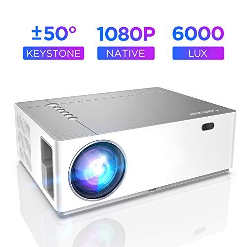 Proyector 6000 Lúmenes Full HD 1080p Nativo, Contraste 8000:1, BOMAKER, Corrección Horizontal Vertical de ± 50 °, Pantalla de 300', Dolby, Cine en casa Presentación Comercial, Parrot I, Gris