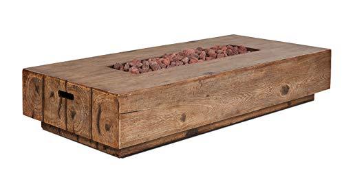 intergrill Gasfeuerstelle TM17012 Designer Fire Pit Feuertisch für Garten mit Laversteinen Holzoptik Rechteckig