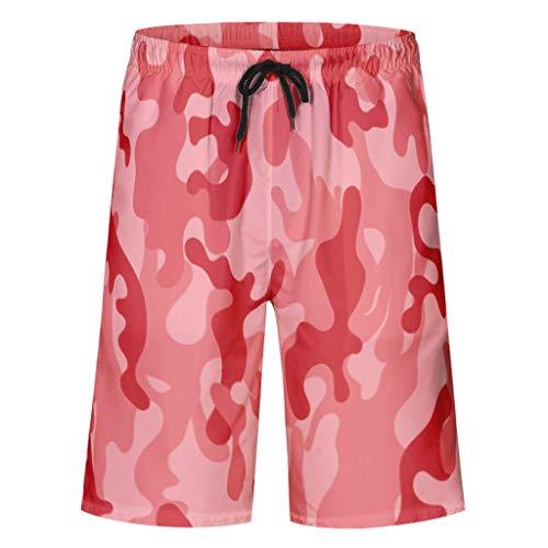 kikomia Herren Badeshorts Rote Farbe Block Tarnung Druck Traditionell Badeanzüge mit Taschen Mesh Futter White 4XL