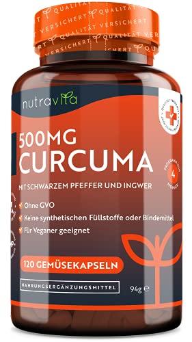 Nutravita® Curcuma Extrakt Kapseln - 120 Kapseln - 500mg Kurkuma - Mit 475mg reinstem Curcumin - Curcumingehalt EINER Kapsel entspricht 25.000mg Kurkuma - Laborgetestet - Mit Pfeffer & Ingwer