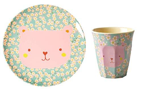 Rice, Piatto (20 cm) e bicchiere (8 x 8 cm) assortiti in melamina, fiore su sfondo blu orsetto rosa