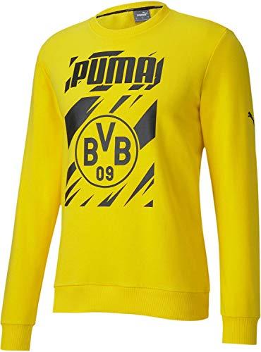 World Cup Soccer BRORUSSIA DORTMUND Mens BORUSSIA DORTMUND FTBLCORE GRAPHIC CREW SWEAT, Cyber Yellow-Puma Black, S