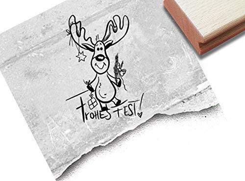 Stempel Weihnachtsstempel Elch mit Frohes Fest - Textstempel Weihnachten Karten Geschenkanhänger Basteln Weihnachtsdeko Geschenk - zAcheR-fineT