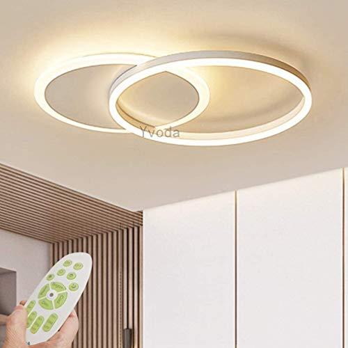 Yvoda Lámpara de techo LED Lámpara de sala de estar regulable moderna Plafón con Control Remoto Luz de techo de moda Minimalista Iluminación de acrílico de metal Dormitorio Cocina