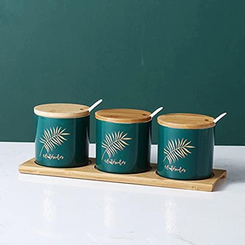 QLIGHA 3 uds.Frascos de Especias de 260 ml para Cocina, recipientes de cerámica para Almacenamiento de Especias con Tapas y Caja de Especias con Cuchara con Herramientas de Madera para Especias
