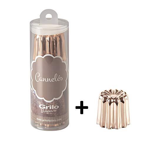 Grilo 811009 Lot 3 Moule à Cannelé Cuivre, Intériur Étamé, Grand Modèle (5,5 cm) + offre 1 unité