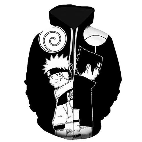 ZOSUO Hombre Mujer 3D Naruto Sudaderas con Capucha Disfraz Suter Deporte Capucha Trendy Pullover Deportivos Tops Uzumaki Naruto Uchiha Sasuke,XXS