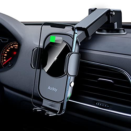 Auckly 15W Qi Cargador Inalámbrico Coche,Soporte Movil Coche Ventosa Porta Soporte Con Bloqueo Automático Rápida Salida de Aire Para iPhone 11/Pro MAX/XS MAX/XR/8,Galaxy S20/S10/P20 Note 9/S9 y Otros