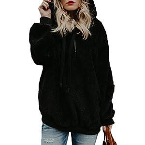 Women's Oversized Warm Fuzzy Hoodies  Loose  Zipper Pullover Hooded Sweatshirt Outwear