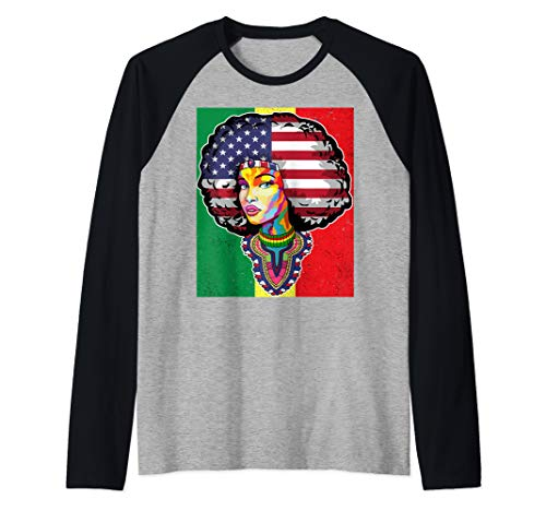 Juneteenth Dashiki American Flag T Shirt Raglan