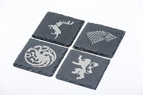 Juego 4 posavasos inspirados Stark Lannister Baratheon