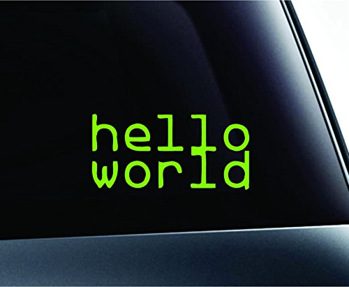 Hello World Symbol Text Java Python PHP C C++ HTML Programming Introductory Computer Laptop Symbol Decal Family Love Car Truck Sticker Window (LimeGreen)
