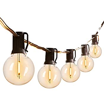 LED G40 Outdoor String Lights Patio Lights with 104 LED Shatterproof Bulbs Weatherproof Commercial Hanging Lights for Backyard Bistro Pergola Party Decor E12 Socket Base 2200K Black  100ft