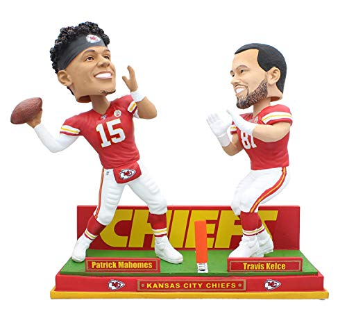 Official Kansas City Chiefs Dual NFL Resin Bobblehead Set - Featuring Football Players Patrick Mahomes & Travis Kelce - Collectible Replica Sports Toy Figures - Licensed Merchandise