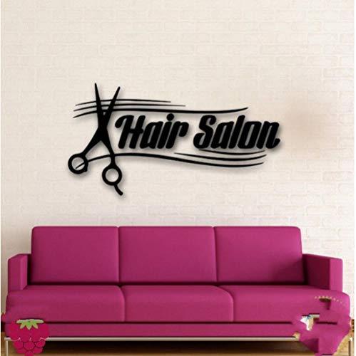Olivialulu Verwijderbare Muurstickers Vinyl Decal Haar Spa Salon Teken Schaar Barbershop Stijl Muursticker voor Shop Decoratie Aanpasbaar