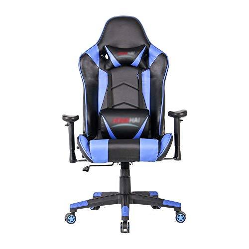 HYY-YY Silla Silla prima de ordenador Juegos de oficina silla de la computadora de escritorio silla de estilo que compite con respaldo alto PU Silla giratoria (Color: Color de imagen, tamaño: 70X70X12