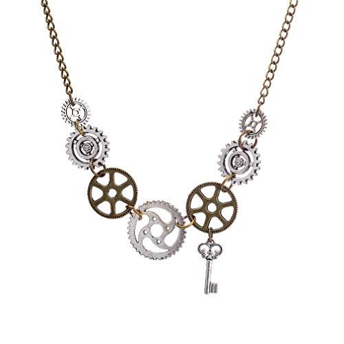 Qiyun.z Hecho a mano Nueva Moda Steampunk Collar Llamativo Eslabón Cadena de Cable Engranaje Antiguo Colgantes Clave Bronce