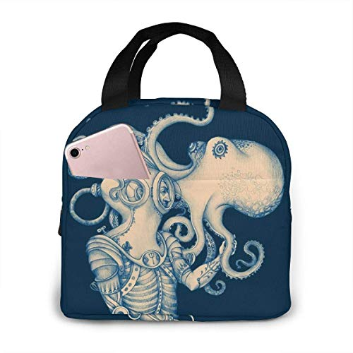 Portable Lunch Bag Blue Kraken Nautical Lunch Bag Lunch Bag Tote Bag Lunch Bag for Women Lunch Box Insulated Lunch Container