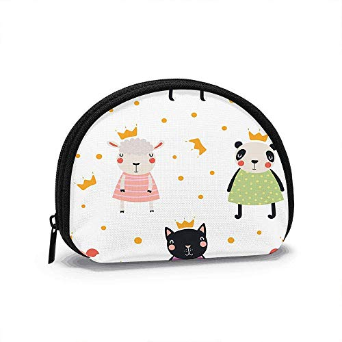 Hand Drawn Cute Animal Women Girls Shell Cosmetic Make Up Storage Bag Outdoor Shopping Coins Wallet Organizer