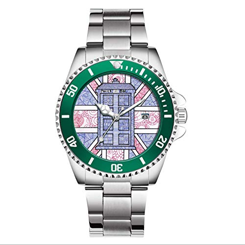 Herren für Polizei Fans Uhren drehbare Lünette Quarz Silber Ton Edelstahl Uhr britische Polizei Box und Union Jack Flagge illustriert Armbanduhr (blau)