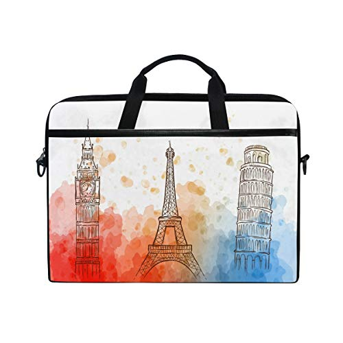 Paris Tower Laptop Shoulder Bag Notebook Computer Handbag Sleeve Table Carrying Case Messenger Bags Fits 13-15.4 in for Men Women Boys Girls