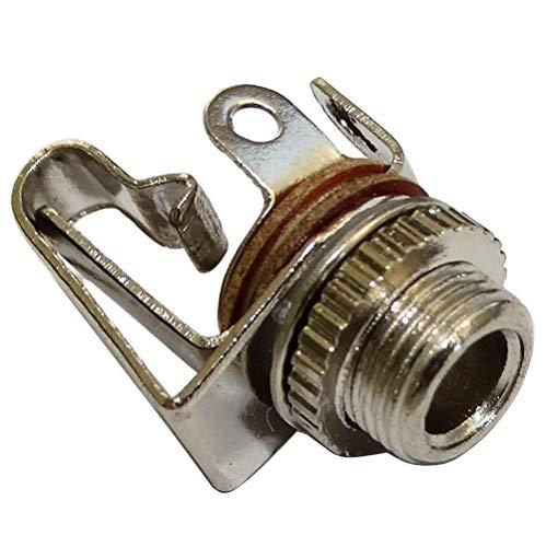 AERZETIX - Juego de 5 Conectores - Borne Jack 3.5mm Hembra - Mono - con Interruptor - En el Panel - Recto - Color Plata - C43913