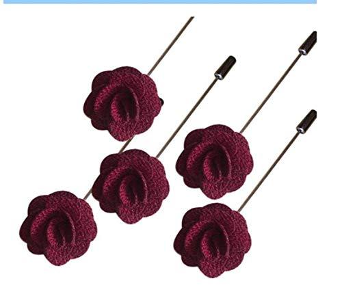 RANJN 10Pcs Handmade Guest Boutonniere Pins Silk Rose Artificial Flowers Groomsman Best Men Women Brooch Corsage Wedding Flower,wine red